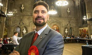 Afzal Khan at the European election count, Manchester Town Hall, in May 2014.