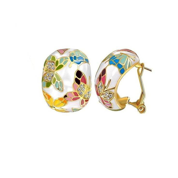 YELLOW CHIMES Swarovski Elements Queen of Versailles Enamel Crystal Earrings for Women and Girls