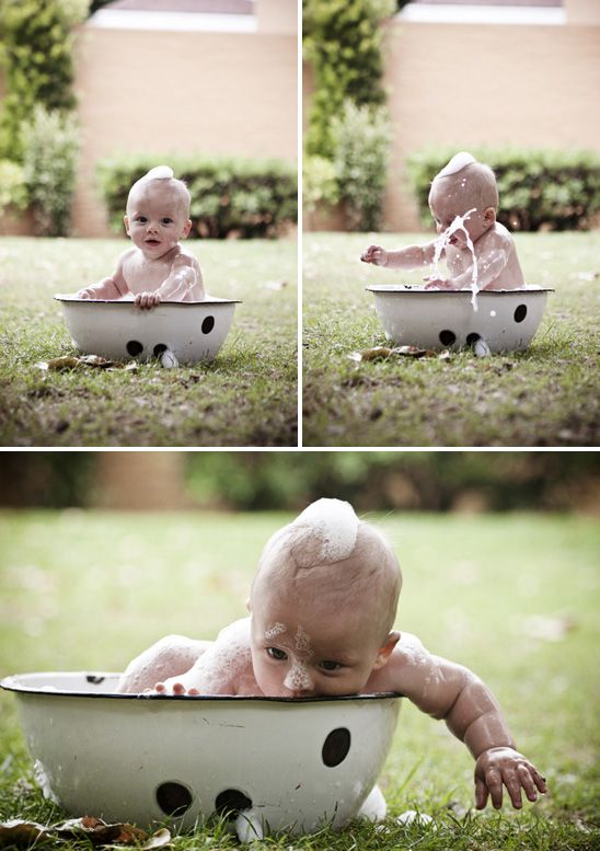 Super cute outdoor baby photo shoot. Ideas for Little. Love this idea!! I have Papa's old wash bowl I can use.