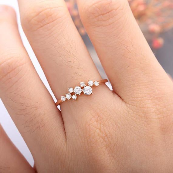 rose gold engagement ring diamond cluster ring flower wedding mini twig bridal jewelry unique promise stacking anniversary gift for women - Wedding Ring Ceremony