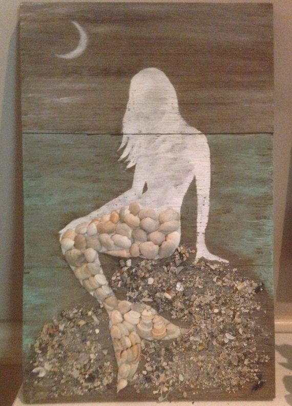 Mermaid on Wood with Seashell Tail Sign