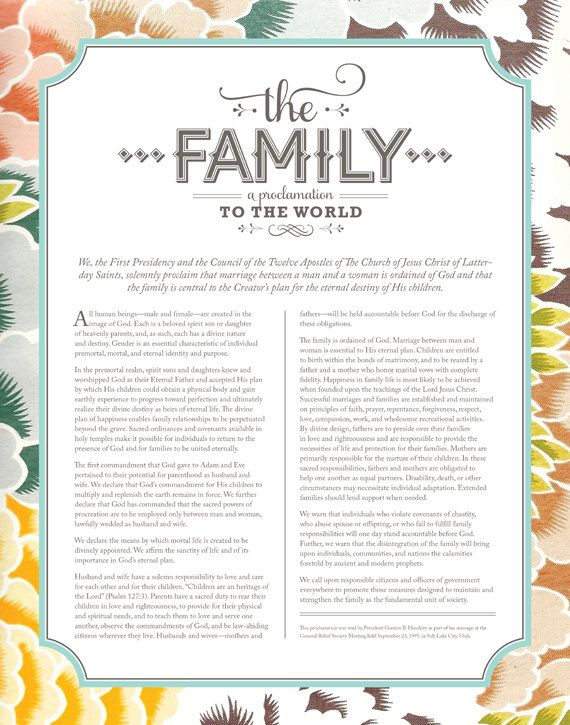 image about The Family a Proclamation to the World Free Printable named Victoria Riehle (riehlevictoria) upon Pinterest