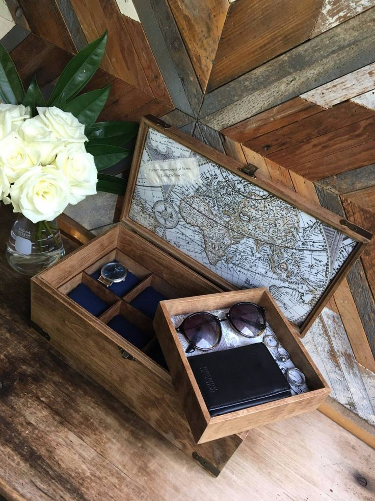 Wooden watch box gift ideas for guys. Great groom and groomsman gifts or father of the groom.