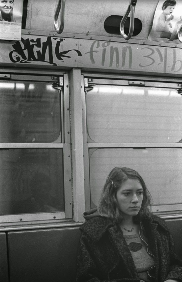 A young Kim Gordon (Sonic Youth) on the NYC subway, 1970s.