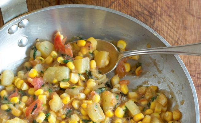 Sweetcorn and Potatoes with Mustard Seeds and Mint - Madhur Jaffrey