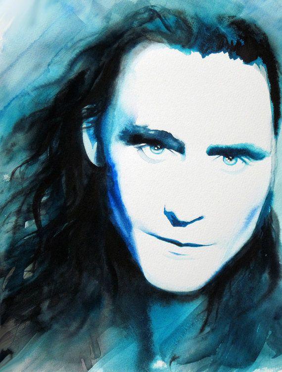 Loki Tom Hiddleston Art Print of Original Watercolor Painting by Kimberly Godfrey