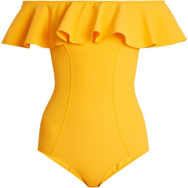 Lisa Marie Fernandez Mira Flounce bonded swimsuit ($545) ❤ liked on Polyvore featuring swimwear, one-piece swimsuits, swimsuits, yellow, off the shoulder swimsuit, bikini one piece swimsuit, yellow bikini, off-the-shoulder swimsuits and off shoulder one piece swimsuit