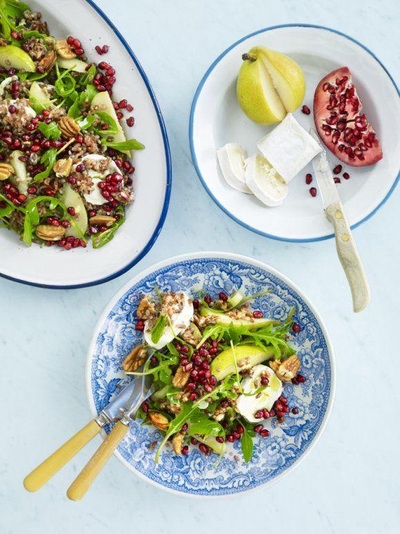 Sallad med rött ris, chèvre och päron | Recept.se