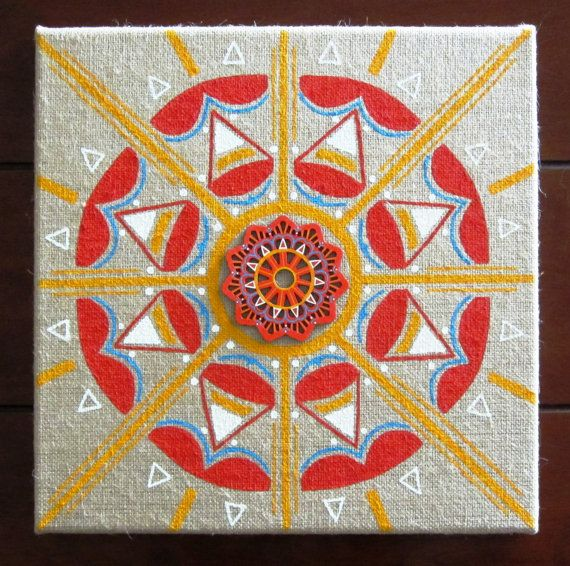 Burlap Canvas Art  Hand painted Mandala  Original by SionMonique