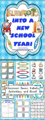 Surfing Theme Classroom Back to School Pack - This surfing themed pack is loaded with back to school ideas! It has room decor, open house items, a behavior management system, first week activities and much more! It now includes a link to an EDITABLE file with labels, letters, and activities from the pack! $