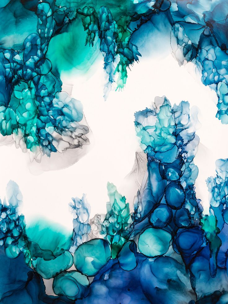 40 Ink Painting Ideas For Inspiration: Alcohol Ink Modern Abstract Under Water--Abstract Painting