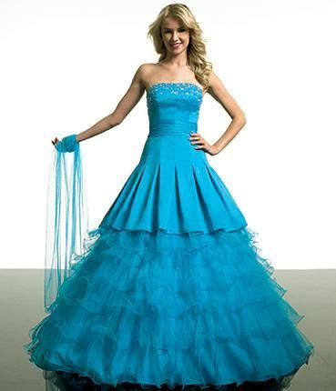 Синие и голубые свадебные платья, фото