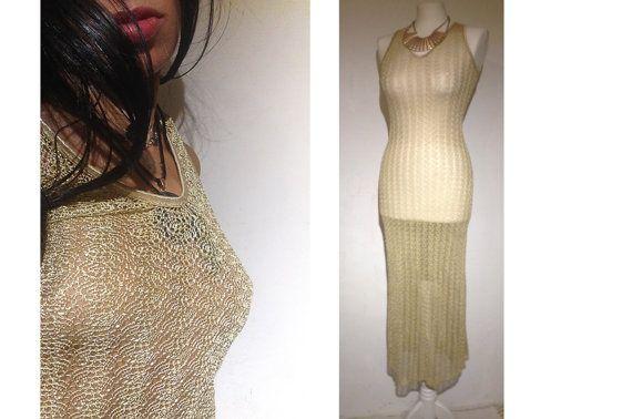 Vintage Lace MaxiGold Dress. Mesh Crochet by VintageVanillaShop