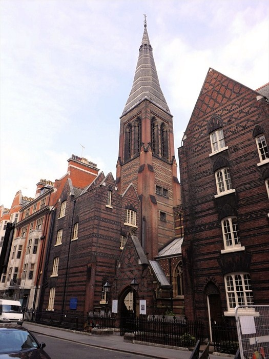 """ALL SAINTS, MARGARET STREET, LONDON // WILLIAM BUTTERFILED // 1850-9  {Gothic Revival}  Cramped, but successful considering site Red Brick rather than stone - modernity Polychromy - new architectural language {""""the rest of the world was in black and white, but we were in screaming colour"""" OH WAIT that's Taylor Swift}"""