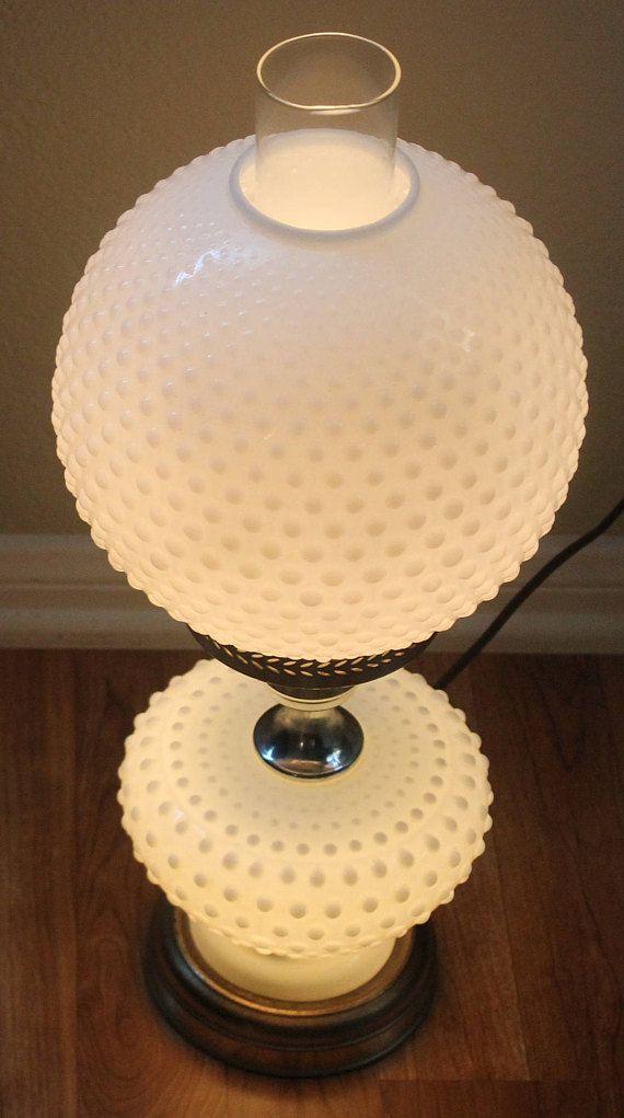 1950s Fenton Hobnail White Milk Glass Globe Table Lamp Three Different Settings For Light Gold Trim Milk Glass Decor White Milk Glass Hobnail Milk Glass