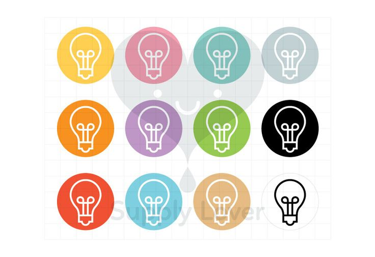 LIGHT BULB Clip-Art Commercial Use, Icon, Light, Bulb, Science, Electricity, Round, Symbol, Circle, 12 Colors - B0046