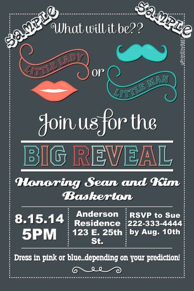 Gender reveal baby shower invitations. Design online, download and print immediately!
