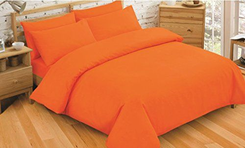 From 11.95 Non Iron Luxury Easycare Plain Dyed Double Duvet Cover & 2 Pillow Cases Bed Set (orange)