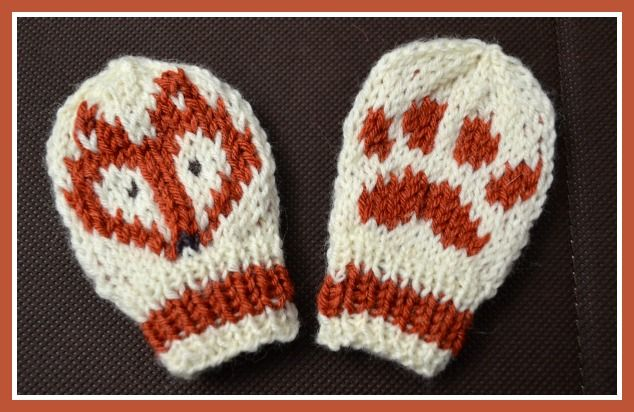 Knitting Pattern For Fox Mittens : Baby Fox Hat and Mittens Knitting Pattern Mittens and ...
