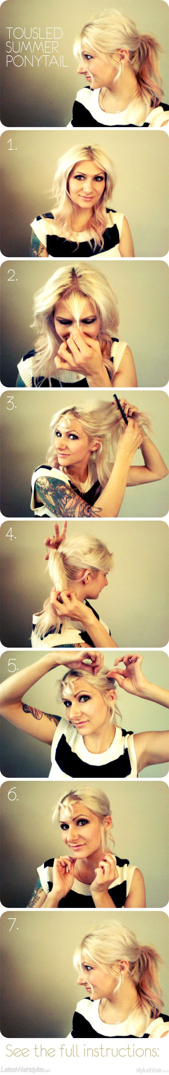 Tousled Summer Ponytail Tutorial! Get the full tutorial + tips here... http://www.latest-hairstyles.com/tutorials/summer-tousled-ponytail.html?ref=home#