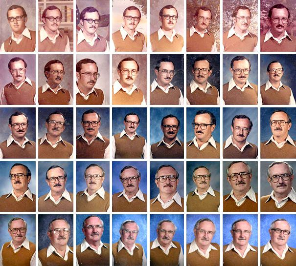 School Teacher Wears The Same Outfit For 40 Years In Every Yearbook Photo you've got to admire his dedication to the running gag!