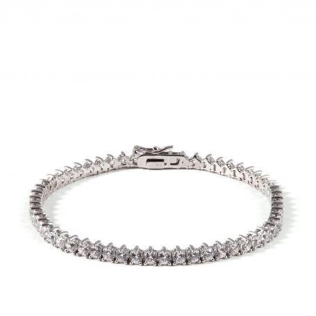 Tennis bracelet EDITORS' NOTES  Enhance your fashion with this silver tennis bracelet . It features parkling white cubic zirconia, and it will be an excellent complement to your casual or formal outfit.  http://www.ultimaedizione.com/shop/en/bracelets-and-bangles/321-te.html