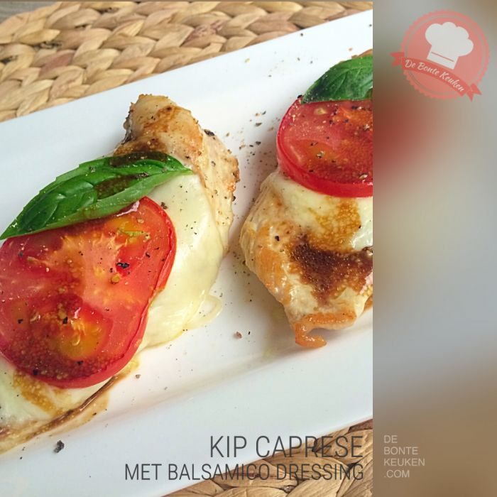 Kip Caprese balsamico...  (vlees, kip, kipfilet, tomaat, mozzarella, verse kruiden,  basilicum, olijfolie, balsamico azijn, mosterd, bruine suiker, avondeten, maaltijd, bijgerecht, oven, recept, Italiaans)