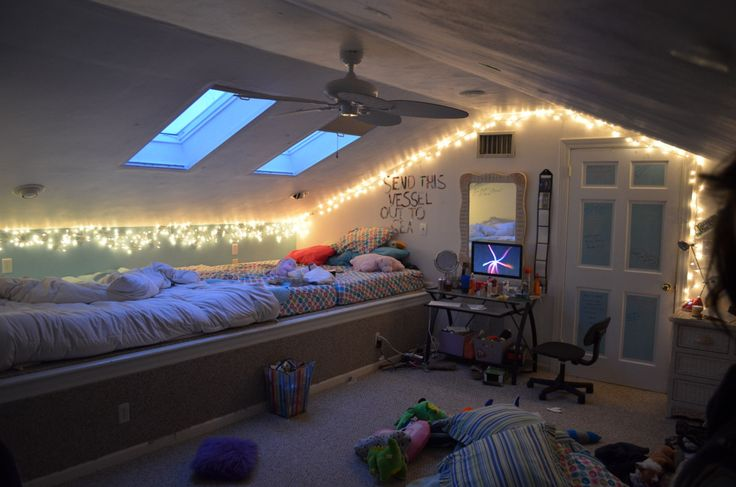 Attic Bedroom With fairylights Fairy Light