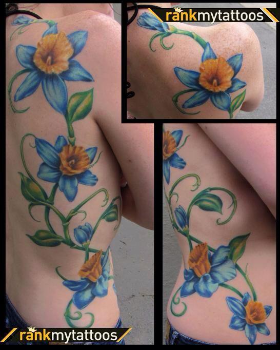 Daffodil   March Birth Flower   Tattoo Ideas - color, vines