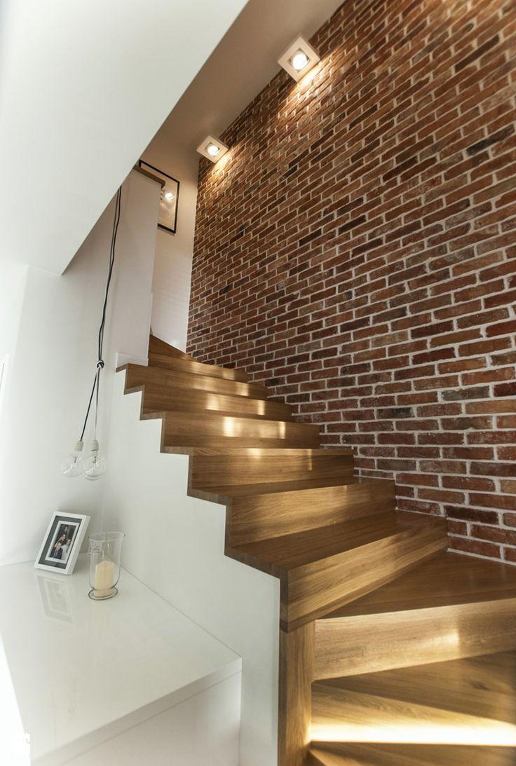 Szeregówka Białystok-realizacja - Średnie schody, styl skandynawski - zdjęcie od Antracyt