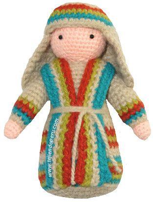 San José tejido a crochet (amigurimi)! También pueden tejer a la Virgen María con el Niño Jesús en brazos.
