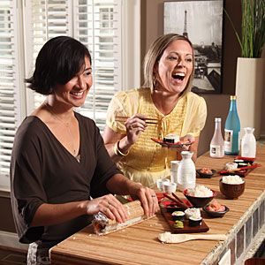 Girls' Night In: Sushi Night    Turn your kitchen into sushi central, complete with sake and rolls of fun.