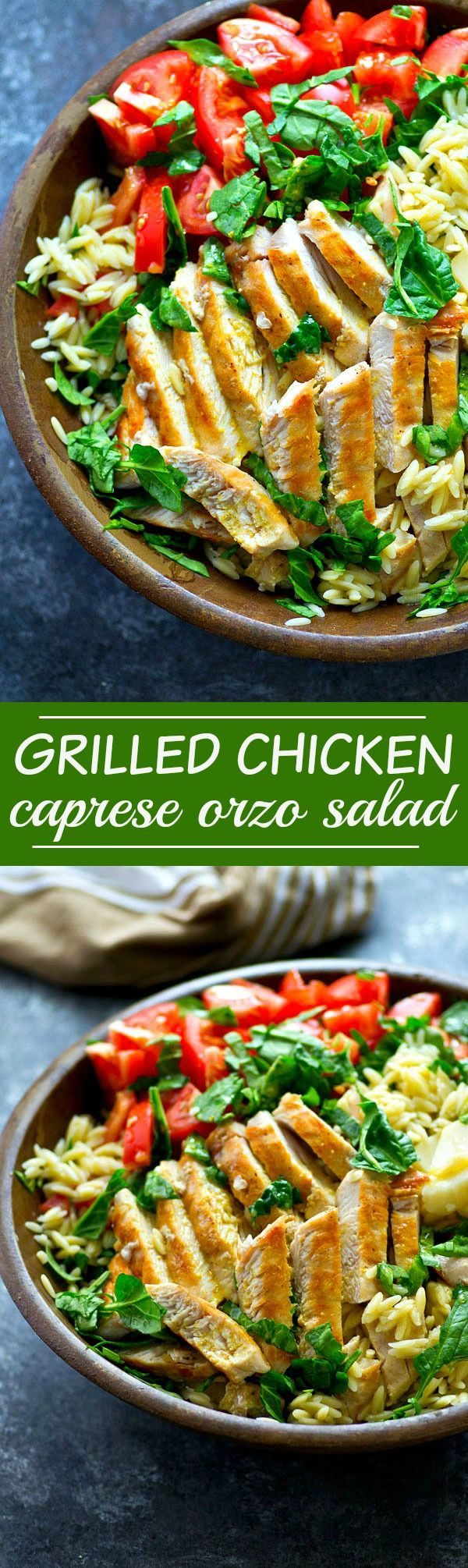 Juicy grilled chicken, tons of fresh tomatoes, mozzarella, and basil make this caprese orzo salad SO flavorful and the easiest summer salad ever!
