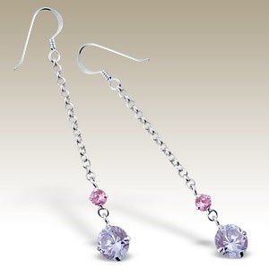 Silver earings with rounds Cubic Zirconia stones - Finishing: Hand polished 925 Sterling silver+E-coat 925 Sterling silver Design from Bangkok925.com  Dimensions:  5cm.  nice Silver CZ Earrings at $6.83
