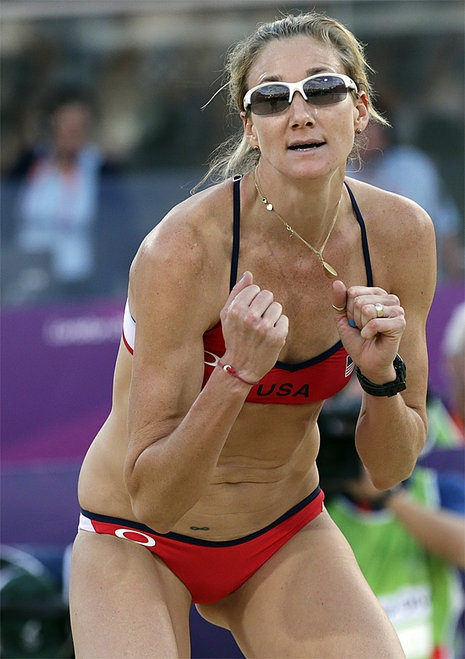 London Olympics Beach Volleyball Women    Kerri Walsh Jennings of the United States reacts during a beach volleyball match against Italy at the 2012 Summer Olympics, Sunday, Aug. 5, 2012, in London.