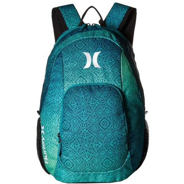 Hurley One and Only Printed Backpack (Rio Teal/Rage Green/White)... (66 AUD) ❤ liked on Polyvore featuring bags, backpacks, hurley, polyester backpack, hurley backpacks, knapsack bag and teal bag