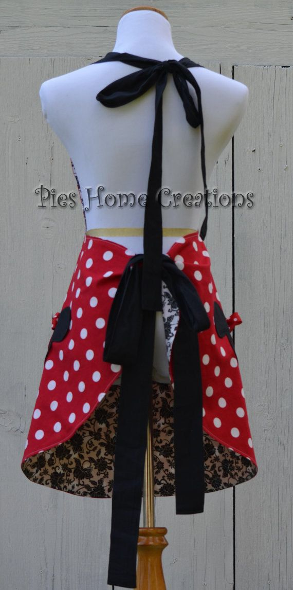 Minnie Mouse Apron, Womens Full Cooking Apron, Reversible Apron, Inspired Minnie with Mickey Head Pockets by ApronStyle