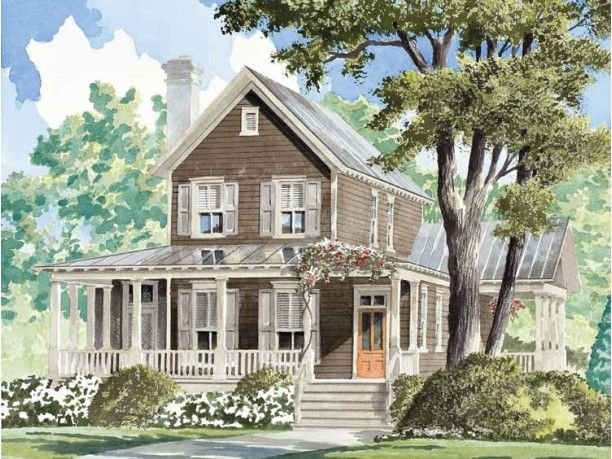 Farmhouse with porch and screened porch home exterior 39 s for Southern living detached garage plans