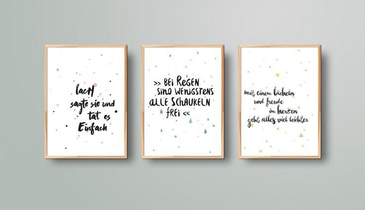 """Weiteres - 3er-Set A5 Prints """"Optimistisch bleiben"""" - ein Designerstück von Beiderhase bei DaWanda #quote #spruch #set #bilder  #bild #geschenk #deko #print #words #positiv #optimistisch #gift #home #dekoration #kreativ #wandgestaltung"""