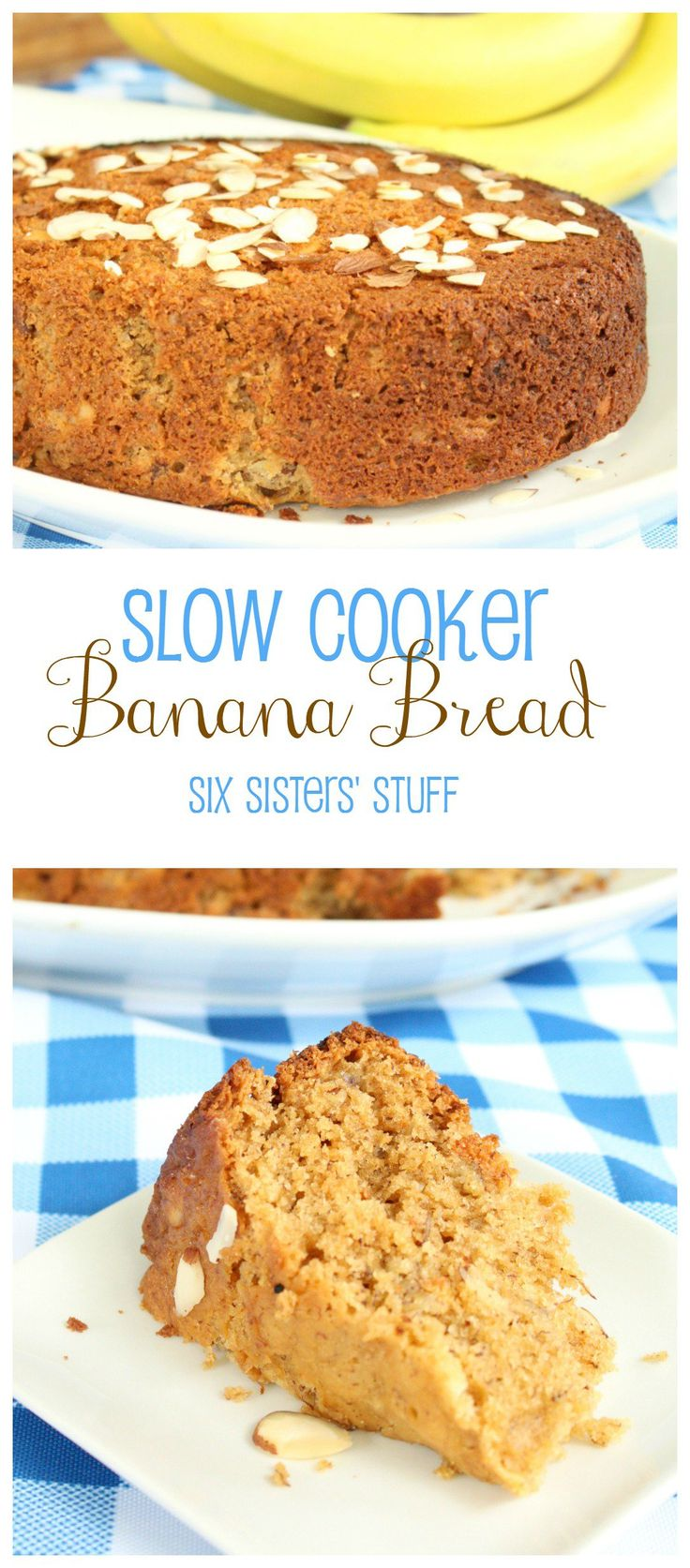 This was so good!!  I cut the sugar in half and used honey instead of sugar and added an extra banana...but my bananas were small to start with.  :)  I also added vanilla and put in extra cinnamon & nutmeg.   Came out wonderfully!!  Slow Cooker Banana Bread | Six Sisters' Stuff