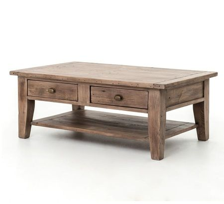 Coastal Solid Wood Coffee Table With Drawers Part 96