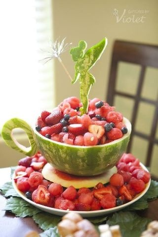 Tinkerbelle Watermelon and fruit salad! great idea for a party. Love the teacup shaped watermelon. Omit Tinkerbelle for a cute idea for a tea party.