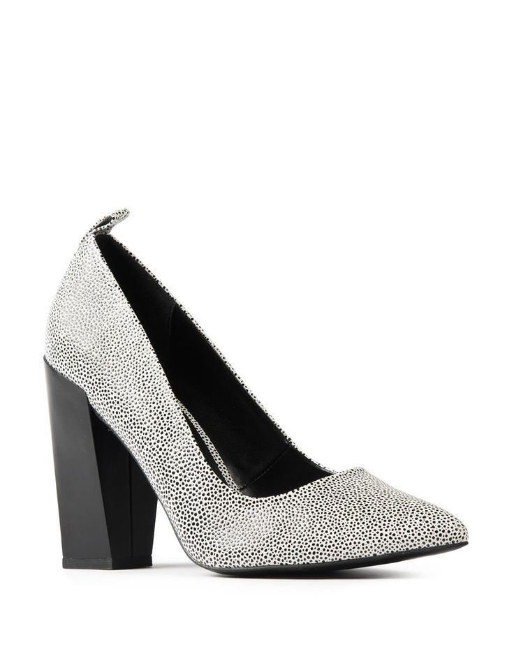 Pointy Block Heel Court Shoes