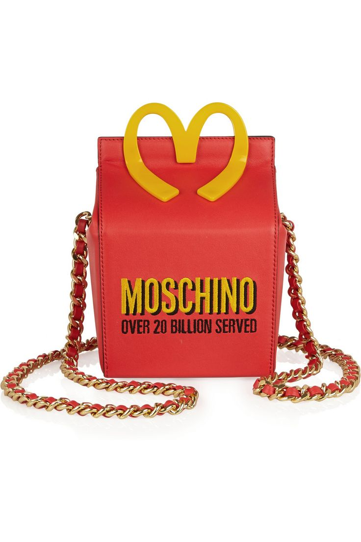 Happy Meal Embroidered Leather Shoulder Bag, £700, Moschino