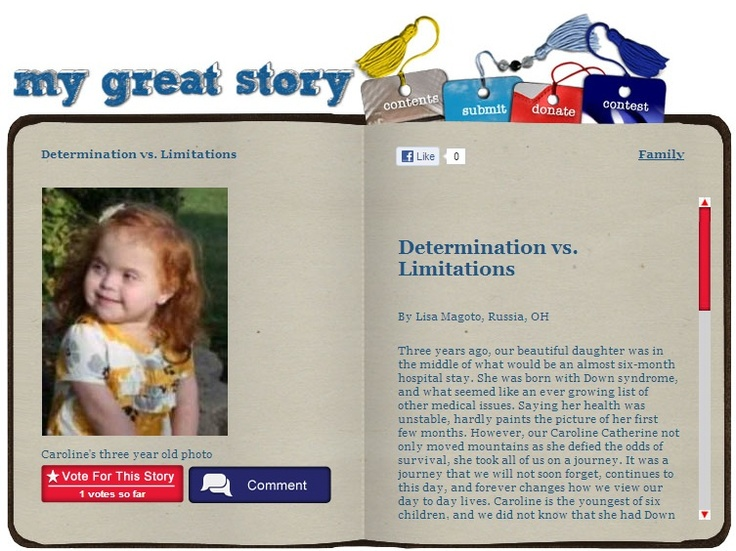 Check out the December 2012 My Great Story of the Month Contest winner Determination vs Limitations by Lisa Magoto, Russia, OH. Share your story at ndss.org/stories!