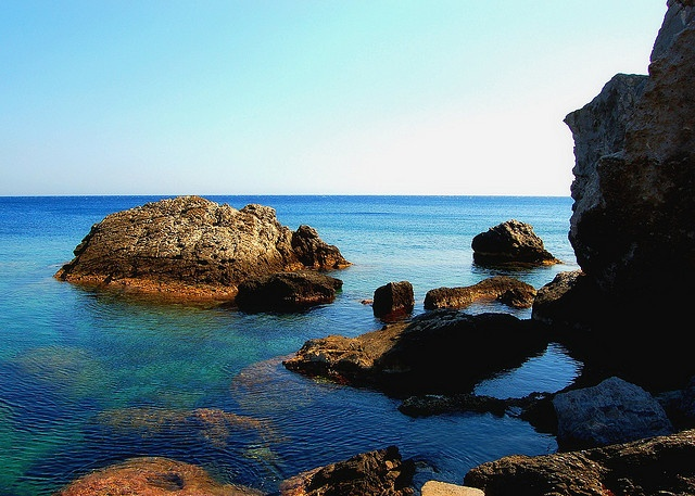 Rock formations along the shore of Paleochora on the Greek island of Crete