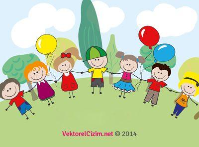 Vektörel Çizim | 23 Nisan Ulusal Egemenlik ve Çocuk Bayramı, El Ele Çocuklar
