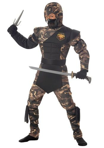 This Kids Special Ops Ninja Costume is a a unique camouflage ninja uniform that features a sculpted muscle chest.