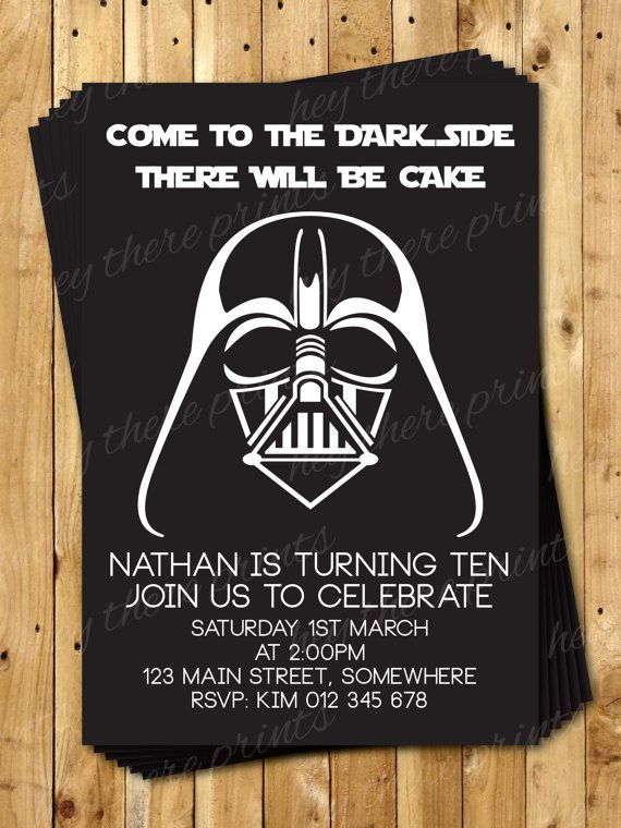 Darth Vader Birthday Invitations Star Wars by HeyTherePrints, $13.00 I love these!!