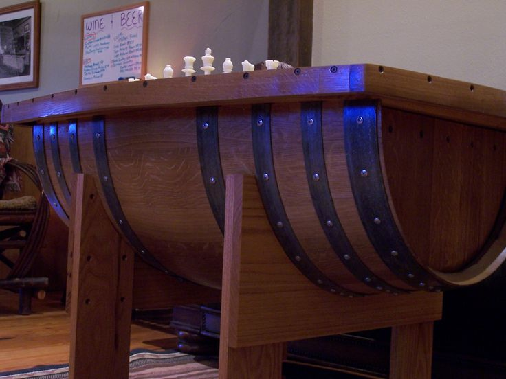 One Of Two Twin Chess Checkers Tables We Have At The Lodge Made From Recycled Productswine Barrelschesswe